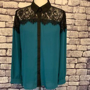 Metaphor Green & Black Bouse Size M
